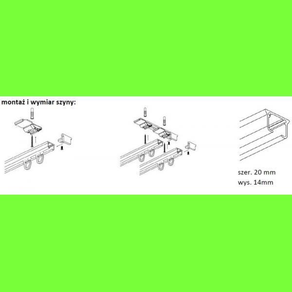 Karnisz szynowy sufitowy aluminiowy jednotorowy ZS cm
