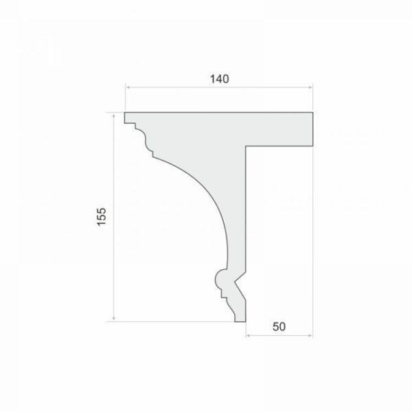 Listwa do zabudowy karnisza LKO8 Wysokość 15,5 cm