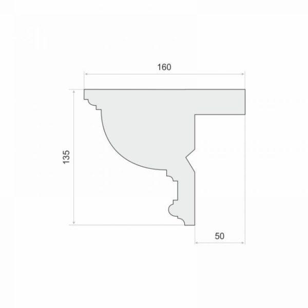 Listwa do zabudowy karnisza LKO10 Wysokość 13,5 cm