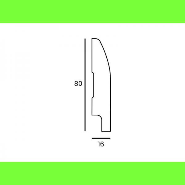 Listwa przypodłogowa MDF wilgocioodporna M2 80x16 Wysokość 8 cm
